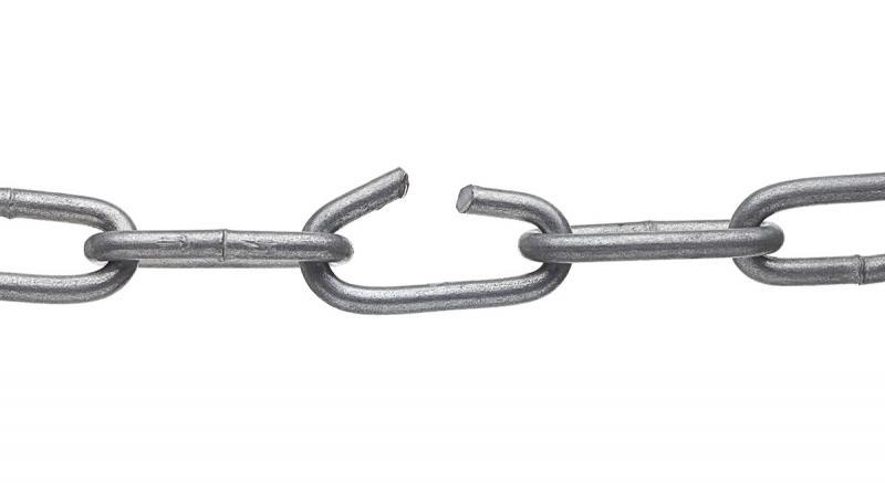 Image of broken metal link chain by picsfive via Adobe Stock.