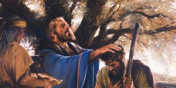Melchizedek Blesses Abram, by Walter Rane. Image via Gospel Media Library.