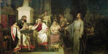 Paul and King Agripaa by Vasily Surikov. Image via Wikimedia Commons.